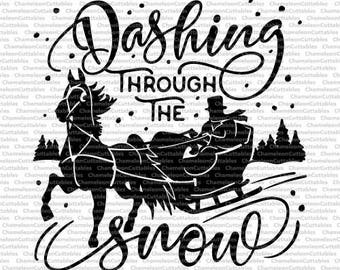 Dashing through the snow, SVG, eps, png, jpeg, dxf, vector, cut file, digital download