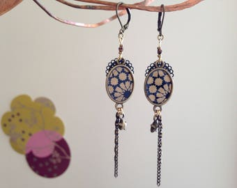 Blue and Golden Japanese paper earrings.