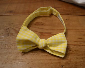 The Yellow Gingham Bow Tie | Father Son, Matching Bow Ties, HANDMADE CUSTOM ORDER, Pre-Tie or Self-Tie | Mens, Boys, Toddler or Baby