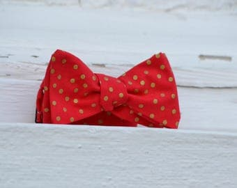 Gold Dots on Red Bow Tie | Father Son, Matching Bow Ties, HANDMADE CUSTOM ORDER, Pre-Tie or Self-Tie | Mens, Boys, Toddler or Baby