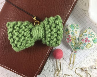 Chunky Knit Planner Bow, Planner Accessory, Traveler's Notebook, K904