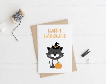 Happy Halloween Card   Halloween Cat   Cat Witch Card   Halloween Card   Witch   Cat   Greeting Card   Halloween