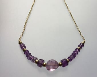 Amethyst necklace /Amethyst and gold necklace /gold chain/ Purple stone necklace/Amethyst Jewellery /Amethyst