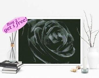Black rose cross stitch, large flower cross stitch pattern, floral instant download PDF