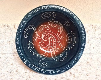 """Ceramic """"something wonderful"""" bowl, hand carved affirmation bowl, handmade pottery bowl with hand carved designs"""