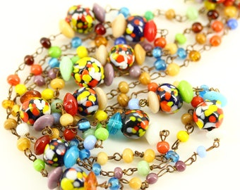 48 Inch Long 1960s Mod Love Bead Necklace Rope, Colorful Glass Lampwork Beads, Mad Men Hippy Statement Lariat, Vintage Bohemian Boho Jewelry