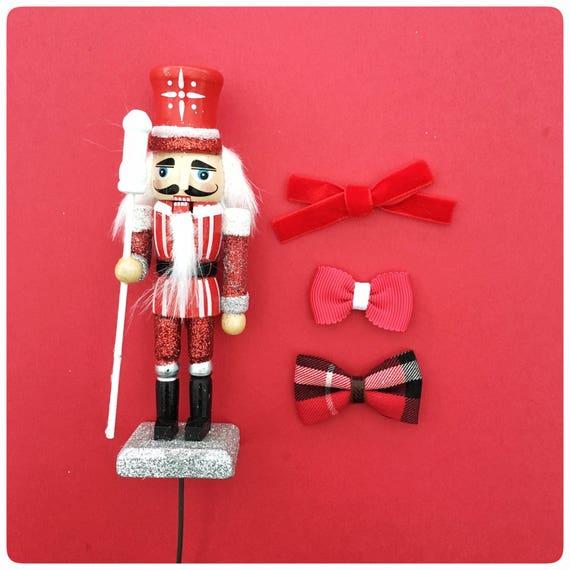 Bow set | Red on Red | Christmas bow set | Holiday bow set | classic mini hair bow | newborn headband