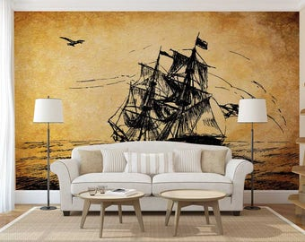 Wall Mural Decal Map, Ship Wall Mural, Old Map Wallpaper, Wall Decal Ship