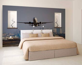 Wall Mural Of The Sky, Wall Mural City, Sky Wall Mural, Plane Wallpaper, Wall Decal Of Sky