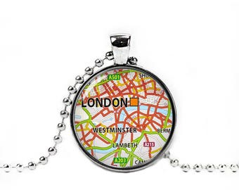 London Necklace London Map Pendant London City Map Necklace England Map Wander Travel Jewelry