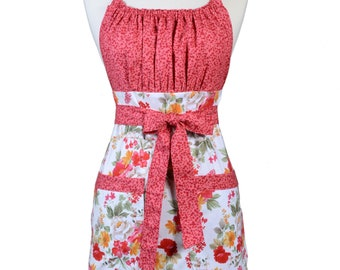 Womens Retro Chef Apron Red Farmhouse Floral Gorgeous Retro Vintage Inspired Kitchen Cooking Hostess Apron with Pockets