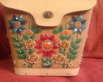 Vintage 70s Flower Power Satchel Handbag