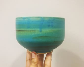 AURORA // large turquoise and emerald ramen bowl, soup bowl, cereal bowl