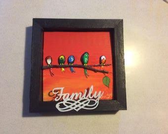 Pebble art bird family