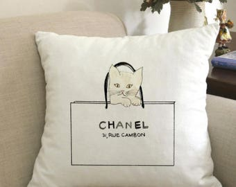 Cat inspired Chanel pillowcase