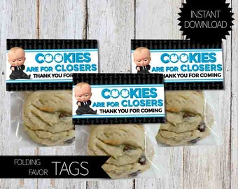 BOSS Baby Birthday Party PRINTABLE Folding Favor Tags- Instant Download | DreamWorks | The Boss Baby Movie | Cookies are for Closers