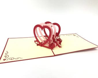Couple Under Heart harmony 3D Pop Up Greeting Card Happy Birthday Wedding anni Thank You Best Wish Good Luck Happy New Year Valentine's
