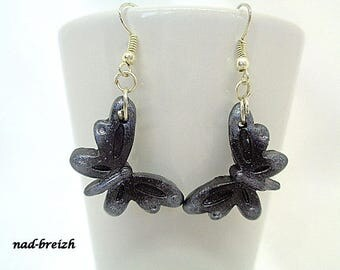 """Earrings Fimo polymer clay """"Butterfly"""" black and silver - handmade"""