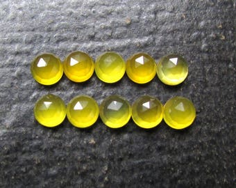 25 Pieces 6mm Yellow Chalcedony Round Rosecut, Yellow Chalcedony Rose Cut cabochon round, Yellow Chalcedony Rose Cut Faceted Round Cabochon