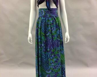 "Ultra High Waist Purple and Green 60s 70s Boho Colorful Print Skirt | Festival Skirt | Maxi Skirt 27"" Waist | Boho Chic | Bohemian | Tikki"