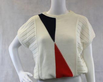 80's Slouchy Sleeveless Sweater Size S-M | Abstract | All Season | Red White Blue | C&A Yessica | Vtg 38 | Medium | Baggy