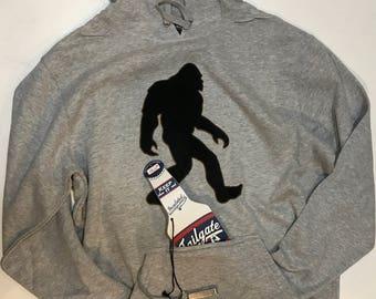 Adult Tailgate Fleece Pullover Hooded Sweatshirt with Bigfoot, Yeti, Sasquatch, With large plush Bigfoot appliqué