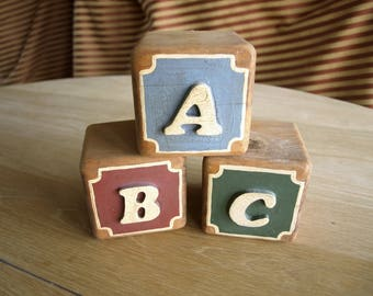 Three Extra Large Alphabet Blocks – ABC Blocks – Embossed with nice Patina