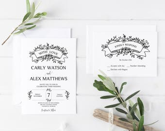 Printable Wedding Invitation, Casual Wedding Invitation, Wedding Invitation Set, Rustic Wedding Invitation, Backyard Wedding Invitation