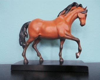 Vintage Horse Statue, Realistic, Resin, Equestrian Horse Figurine, Mid Century Decor, Hand Painted, Western Home, Ranch, Farmhouse
