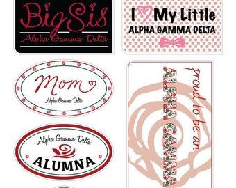 """ALPHA GAMMA DELTA """"Family"""" Sticker Sheet"""