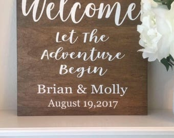"""Welcome Wedding Sign-12""""x 12"""" Rustic Wedding Name And Date Sign-Welcome Let The Adventure Begin Sign-Wedding Sign"""
