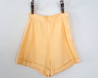 Vintage 50s Cotton Shorts / 50s High Waisted Pin Up Shorts / Yellow Shorts / Vintage Shorts / Size XS