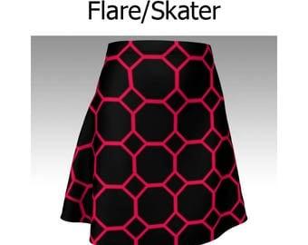 Geometric Skirt, Pink Skirt, Black Skirt, Pink and Black, Flare Skirt, Skater Skirt, Fitted Skirt, Bodycon Skirt, Cute Skirt, Short Skirt