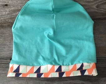handmade slouchy Beanie slouchy beanie for child turquoise band has patterns
