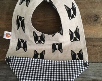 Scalable reversible bib for baby kids bandana bavana bib boston terrier, pug dog black and white Plaid
