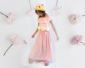 Toddlers to Teens Girls Retro Pink Crepe Off Shoulder Summer Maxi Dress Gown, Flower sash belt, Lace Trim, Wedding Flower Girl