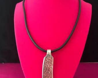 Vintage hammered butter knife pedant necklace with black rivet