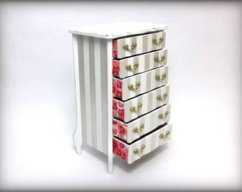 French Provincial Large jewelry Box, Tall Elegant 6 Drawer Jewelry Organizer, Gift for Wife  Mothers Day Gift Unique Vintage Jewelry Box
