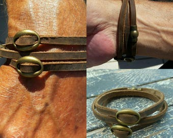 Leather copper wrap bracelet, Brown soft leather Country & Western string cuff