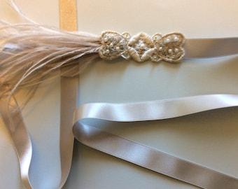 Silver great Gatsby headpiece, 1920s flapper headband putty ostrich feathers silver headband stone 1920s  daisy Buchanan costume Hallowee