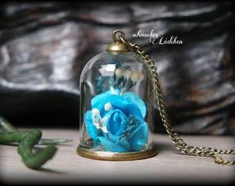 Antique Bronze glass dome rose flower necklace