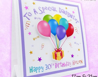 Birthday Card Personalised. 18th Birthday Card, 21st Birthday Card, 30th Birthday, 40th Birthday Card. 50th Birthday Card Birthday Balloons