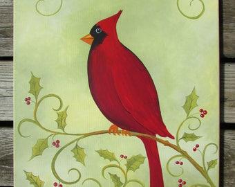 Cardinal on Holly / Canvas