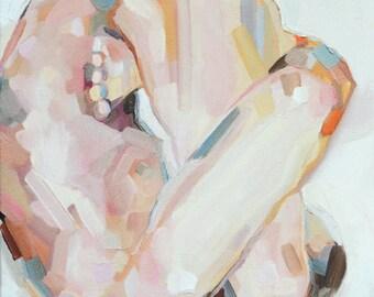 "Yoga Art - Pindasana (or ""Embryo"") Posture - Beautiful Giclée print (8x8"", 12x12"", 20x20"" or 40x40""). Figure Painting. By Sarah Pierroz"
