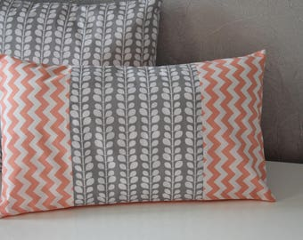 Gray, coral and white - 50 x 30 cm - Scandinavian Style - Cushion cover