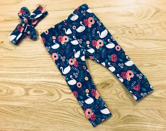 Baby Girl Swan Lake Legging and Headband Set- swan, baby leggings, knot headband, matching set, outfit, coming home outfit