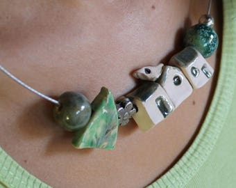 Necklace  with pearl to houses , typical Italian village to wear and carry with you, artistic necklaces