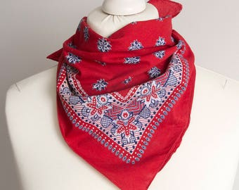 "vintage Small scarf, bandana scarf, retro square scarf, fabric cotton scarf women scarf shawl kerchief 50cm / 20"" floral red navy blue"