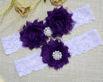 Purple  White Garter Set, Crape Purple Garter, Set, Bridal Garter, Garter For Wedding, Bridesmaid Garter, Purple Garters, White Keep Garter