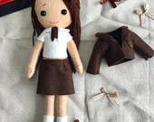 Custom DressUp School Girl Doll Felt School Girl Doll Handmade School Girl Doll Girls Doll Handmade CE certified